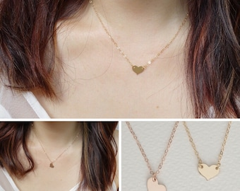 Small Heart Necklace, Initial Necklace. Monogram Necklace, Birthstone Necklace, Bridesmaid Necklace, Heart Disc Pendant, Dainty Necklace
