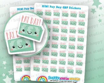 48 Cute MINI Pay Day/Payday GBP Planner Stickers, Filofax, Erin Condren, Happy Planner,  Kawaii, Cute Sticker, UK