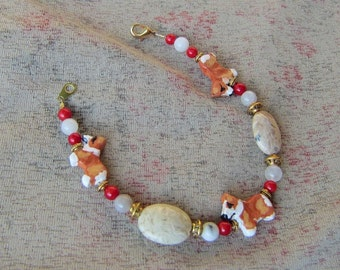 Handmade WELSH CORGI Red/White Clay Bead Bracelet Red Coral/Jasper Beads