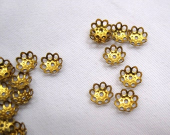 100pcs Small 6mm Flower Bead Cap Raw Brass Jewelry Findings Supplies ca002