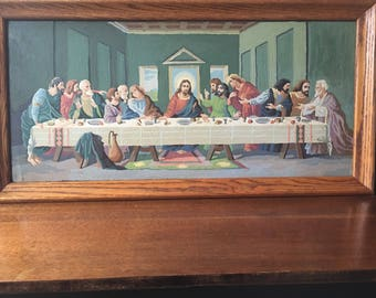 The Last Supper Vintage PBN Vintage Handmade Religous Art Framed Paint By Number Home Decor
