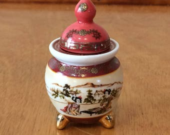 Del Prado Porcelain Pill Box Trinket Box - Asian Scene - EP 9 - Roung Box Shape - From Spain
