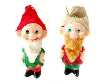 "Vintage Dwarf Ornaments Lot of 2 Dwarf Christmas Ornaments JAPAN Plastic 4"" inch Dwarves with Beards Red & Green Cute!"