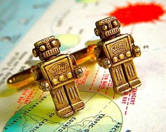 Robot Cufflinks Men's Steampunk Style Antiqued Brass Metal The Originals From Cosmic Firefly