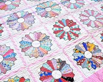 Beautiful 1960s Hand Stitched Vintage Distressed Patchwork Quilt