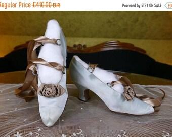 ON SALE 1912 Green Silk Pumps, antique shoes, Edwardian Shoes, antike Schuhe, Edwardianische Schuhe