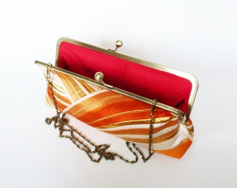 Clutch bag, orange and metallic gold decorative vintage Japanese obi fabric, evening purse