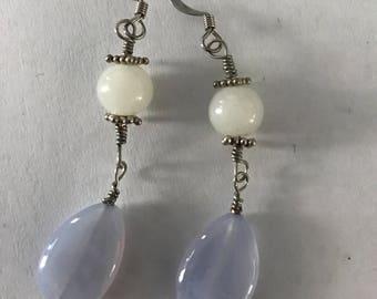 Lavender Chalcedony Drop Earrings