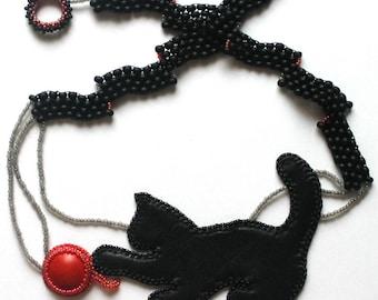 Black Cat jewelry Cats lover Beaded pendant necklace Leather necklace Black necklace Bead embroidered jewelry Beadwork jewelry Boho necklace