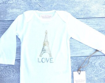 Eiffel Tower - Paris France - Gold  - Baby long sleeve Onesie