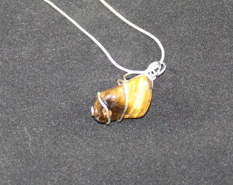 Tigers eye wrapped sterling silver necklace
