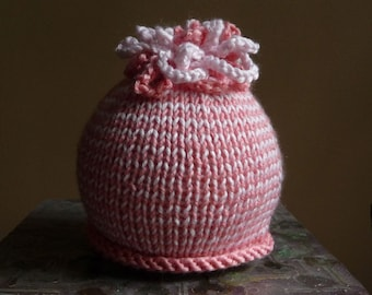 SALE - 25% off Coral Pink Hat Beanie Hand Knit Infant Baby Photo Prop OOAK Showe Hospital Gift