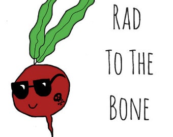 Radish Pun Card - Puns - Play On Words - Stay Rad - Father's Day - Badass Dad - Skull Tat
