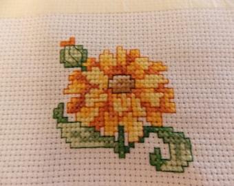 Miniature counted cross-stitch Calendula