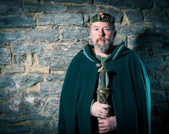 Men's Green Knight Cloak Cape Druid Pagan Wiccan Greenman Cosplay Fantasy Shaman