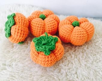 Crochet Pumpkin Rattle, Pumpkin Toy, Pumpkin Pretend Play, Baby Rattle, Crochet Baby Rattle, Baby Teething Toy