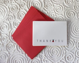 THANK you, ladybug, thank you cards, silver foil, white, blank inside, set of 6