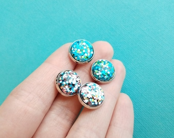 Glitter Cabochons . Stainless Steel Posts . Stud Earrings