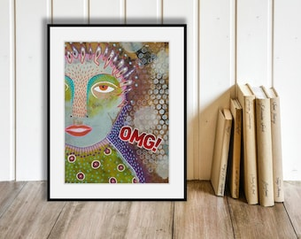 Outsider Art OMG! Oh My God Original Painting Folk Art Brut Weird Face Portrait Expressionism Expressionist Crazy Quirky Wall Art