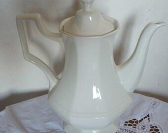 English China coffee pot, porcelain, made in England, shabby chic, elegant, octagonal design.