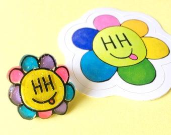 Happy Hippie smiley flower ring & sticker