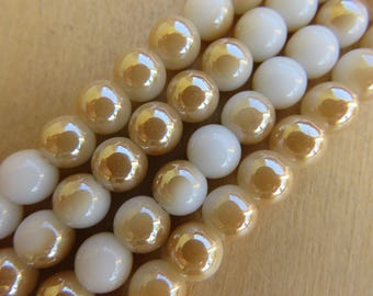 Set of 10 pearls 6 mm glass imitation jade semi-plaque tone: golden sand.