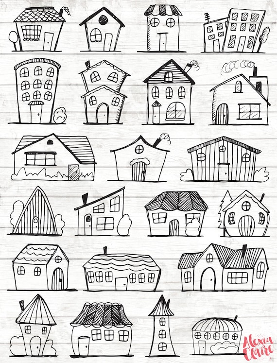 Doodle House Clipart House vector Art Home House City