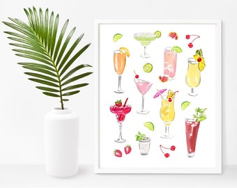 Cocktails Illustration - Drinks Printable - Food Printable  - Gourmet Printable  - Cocktails Clip Art - Food Print -  Gourmet