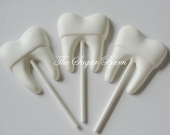TOOTH CHOCOLATE Lollipops*12 Count*Tooth Fairy*Dentist Gift*Dental Hygienist*Dental Assistant*Dental School*Gag Gift*Party Favor*Dracula