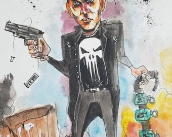 The Punisher 9×12 original watercolor paibting. Free shipping!