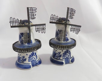 Vintage Delft Holland Blue and White Windmill Salt and Pepper Shakers