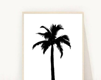 Palm Tree Print, Black Palm Tree, Palm Tree Art, Palm, Printable Wall Art,  Downloadable Art, Modern Wall Art