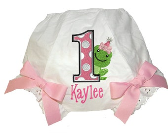 Personalized Birthday Baby Girl Diaper Cover Bloomers Froggie & Dots Birthday Double Bows