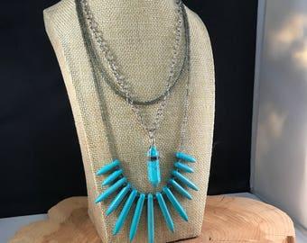 Layered Turquoise Spiked Pendant & Gemstone