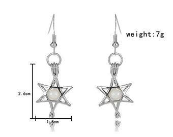 Silver Plated Star Cage Earring with Fresh Water Pearl