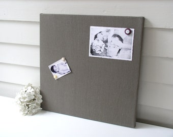 Gray Linen Square Fabric MAGNET Board - Modern MAGNETIC Organization Bulletin Board 16 x 16 with Button Magnets