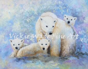Nursery Mama Polar Bear Art Print, polar bear three cubs, wildlife, mother bear three cubs, baby bears, mother bear art, Vickie Wade Art