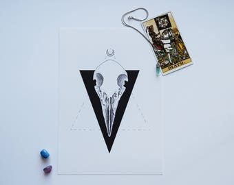 DEATH - Bird Skull Tarot -- Art Print