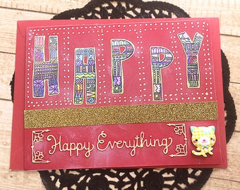 """Happy Everything with Kitten Cabochon Greeting, Note Card, Cheerful, Birthday, Graduation, Wedding, Engagement, Thinking of You - 6.5"""" x 5"""""""