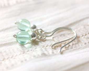 SALE 20% off Mint Earrings - Small Light Green Mint Glass Beaded Sterling Silver Dangle Earrings, Jewellery Handmade by Ikuri, FREE SHIPPING