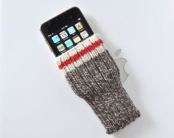 Hand Knit iPhone / iTouch Cozy Case - Sock Monkey Design