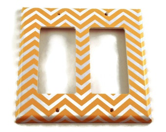 Double Rocker Switch Plate Light Switch Cover Wall Decor Light Switchplate  in Yellow Chevron (242DR)