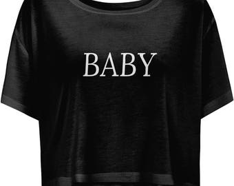 Noted Mention BABY Women Flowy Boxy Cropped T-shirt