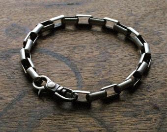 Mens Rugged and Rustic Sterling Silver Link Bracelet