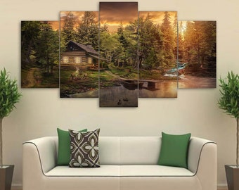 Cabin in the Woods Canvas Set, Cabin Wall Decor Forest Gift for Home Gift for Her Wall Art 5 Panel Framed Canvas Woods Print Cabin Painting
