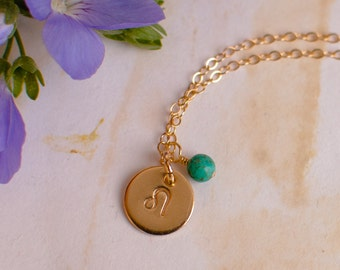 Leo Necklace - small gold Leo Zodiac Pendant on 14k Gold Filled Chain with Turquoise or CHOOSE GEMSTONE - Tiny Dainty