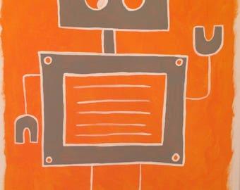 robot art, robot painting, robot nursery, robot theme, robots, boys art, modern art, baby art, robot room, robo art, robo painting, robo