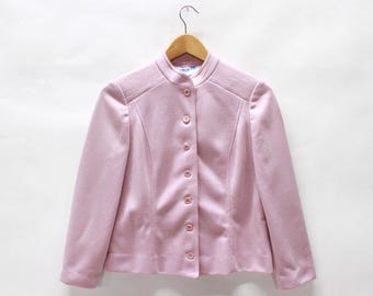 Vintage Button Up Knit Blazer with Mandarin Collar in Rose Pink