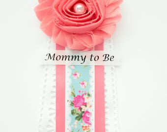 Boho Shabby Chic Coral Mint Baby Shower Corsage Pin with Mommy to Be, Grandma to Be, and Custom Tags