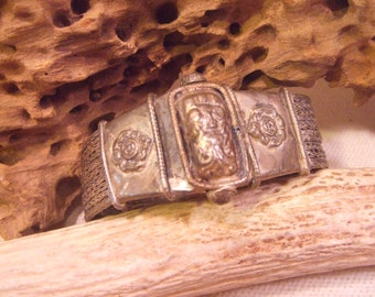 Tribal Bracelet Silver with screw latch   -- old jewelry  -- heavy patina( FREE SHIPPING SALE)